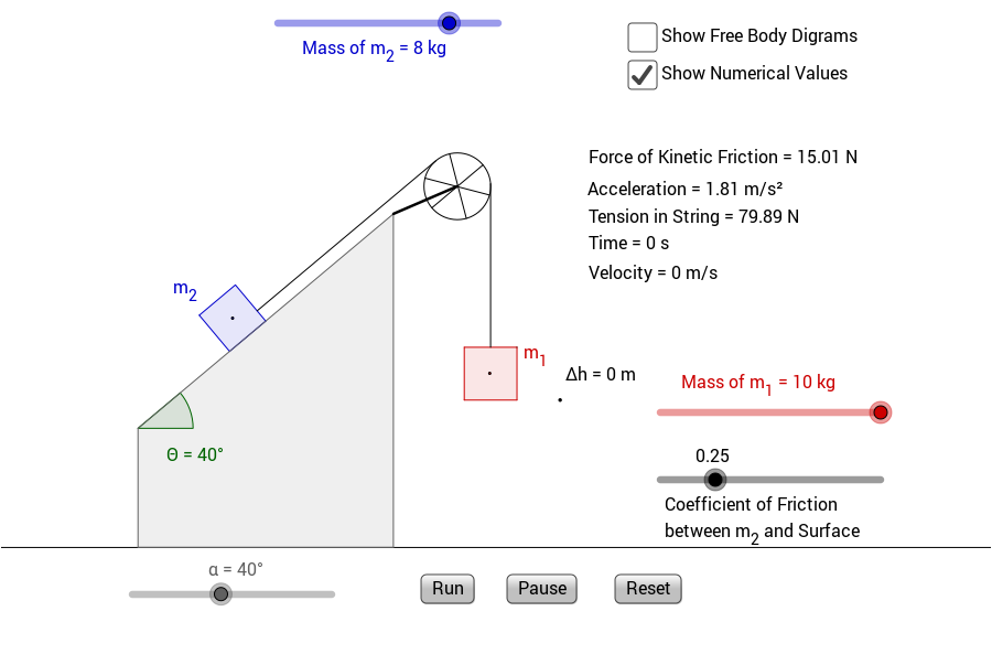 mass and kinetic friction Horizontal pulley with friction kg which hangs vertically the friction between the mass and the surface is represented by a friction coefficient mu=.
